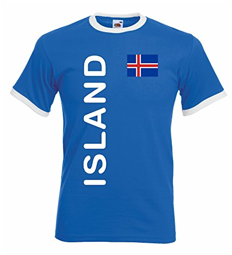 world-of-shirt Herren Retro T-Shirt Island Trikot EM 2016|blau-M