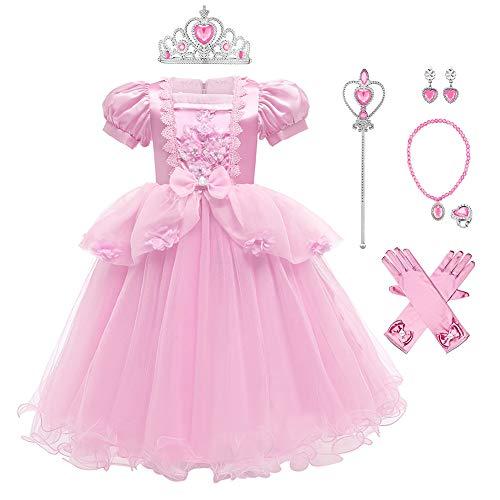 IWEMEK Disfraz de Princesa Cenicienta Vestido Tul Encaje Flor Largo con Accesorios...