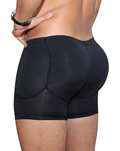 AIEOE Herren Push Up Boxer Gepolsterte Retroshorts Unterhose mit Po- und Hüft-Polster Figurformende Unterhose - Schwarz Größe L