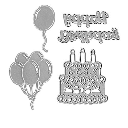 Metal Happy Birthday Cake Cutting Dies,A Bundle of Balloons Die Cuts Embossing Stencils Template Mould for Card Scrapbooking and DIY Craft Album Paper Card Decor