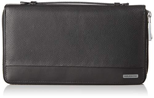 Moleskine - Cartera de Cuero clásica con asa, con 2 Compartimentos externos y 12 Bolsillos para Tarjetas de crédito y Billetes, tamaño 23 x 12.5 x 4 cm, Negro