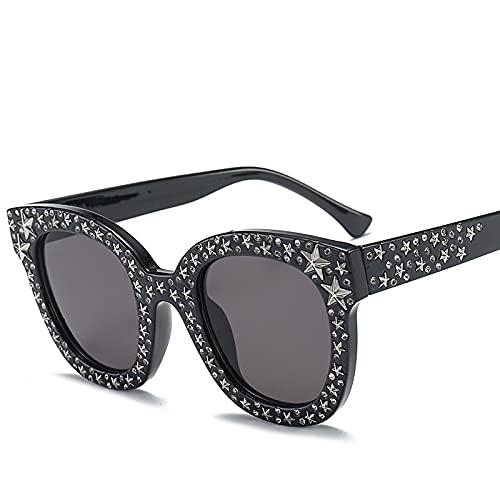 JINZUN Gafas de Sol de Moda Trend Street Shooting Gafas de Sol Marco Redondo Star Diamond Sunshade Glasses Protección UV