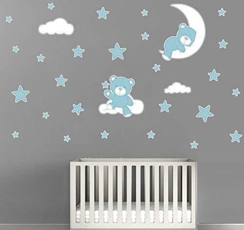 Wandaufkleber Teddybär Mond & Sterne Wandbilder Wandtattoo Kinderzimmer Tiere Deko Babyzimmer Junge Kinder Wanddekoration Schlafzimmer (Blau)