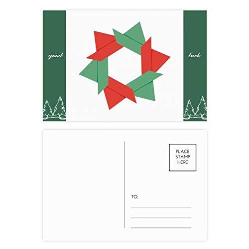 Abstraktes Weihnachts-Blumen-Origami-Muster, Glücksbringer-Postkarten-Set, Karten, Versandseite für Karten, 20 Stück