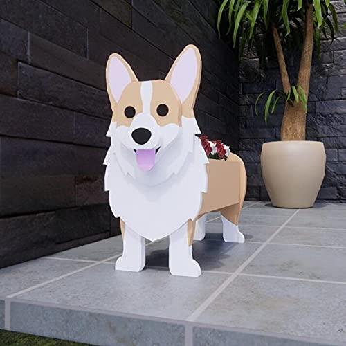 Pug Planter | French Bulldog Planter | Chihuahua Dog Planter | Corgi Planter, Dog Planter - Multiple Dog Shape Cartoon Succulent Planter Pattern, Wood Pet, Decorative Gardener, Animal Pot (Khaki)