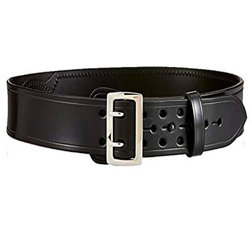 Aker Leather B03 Sam Browne Duty Belt, Half Leather-Lined, 2-1 4  Width, Plain, 32  , Black