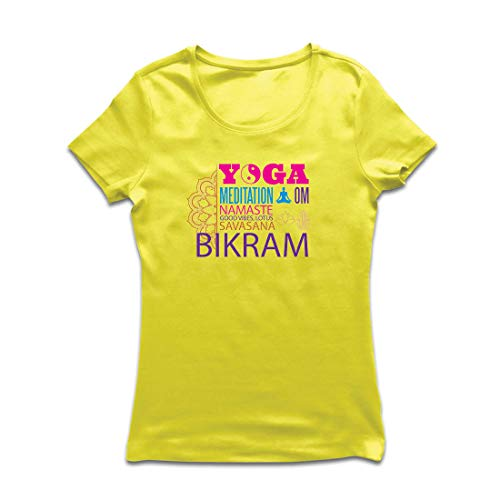 lepni.me Camiseta Mujer Yoga Meditation Om Good Vibes Lotus Savasana Bikram (Small Amarillo Multicolor)