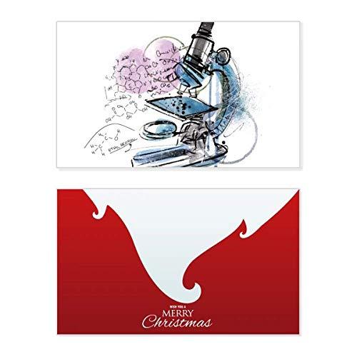 Química Kowledge Microscopio día festivo Feliz Navidad tarjeta de Navidad Vintage Mensaje