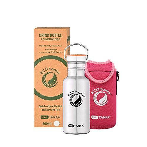 ECOtanka miniTANKA Trinkflasche aus Edelstahl 0,6 Liter auslaufsicher - Wasserflasche BPA frei mit Edelstahl Bambus Verschluss + KOOLER Pink