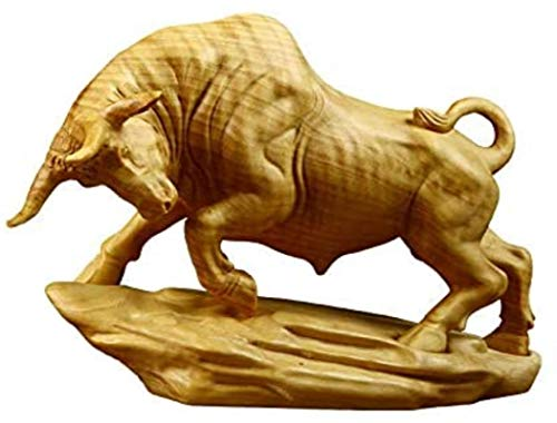 HYBUKDP Estatuas Zen Decoración Boxwood Sacred Animal Animal Oficina de Vaca Decoración del hogar Escultura Estatua Decoración Artesanía Regalo Escultura de la Mascota (Color : Default)