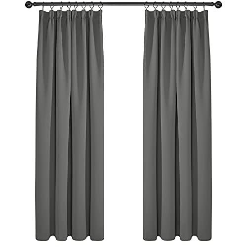 Deconovo Cortinas Opacas Fruncidas Telas Termicas Aislantes Frio Calor Ruido Luz Rayos UV para Salon y Dormitorio Conjunto de 2 Piezas 132 x 214 cm Gris Claro