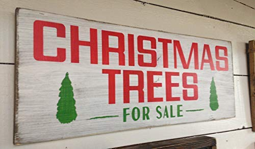 Christmas Trees for Sale Wooden Printed Wood Funny Signs Magnolia Market Joanna Gaines Fixer Upper Christmas Decor Vintage Christmas