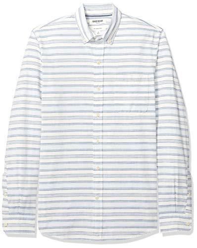Amazon Brand - Goodthreads Men's Slim-Fit Long-Sleeve Chambray Shirt, White Denim Horizontal Stripe, X-Large