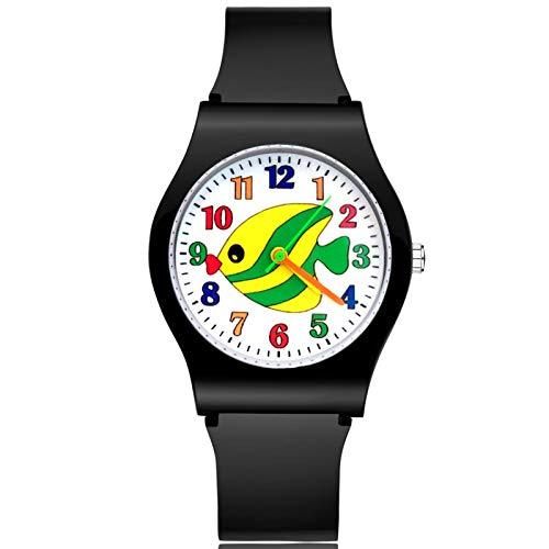 SFBBBO Reloj niño Moda Lindo Pescado Estilo niños niños Estudiante niña niños Cuarzo Correa de Goma Relojes de Pulsera Negro