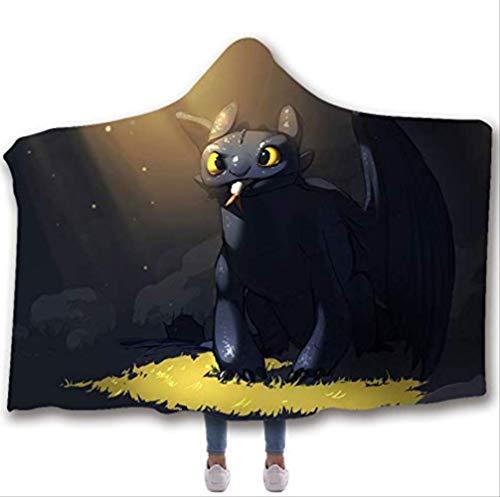 Train Dragon Hooded Blanket,Warme Bedruckte Tragbare Fleecedecke Mikrofaser Umhang,Für Erwachsene Kind Frau A