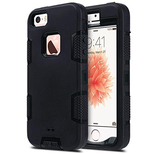 ULAK - Cover iPhone 5S, iPhone SE Custodia Ibrida a Protezione Integrale con Parte Esterna in 3 Strati di Morbido Silicone e Interno Rigido Cover per iPhone SE, iPhone 5/5S - (Nero + Nero)