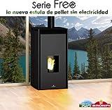 BRONPI Estufa DE Pellet SIN Electricidad Modelo Free 6 KW Negro