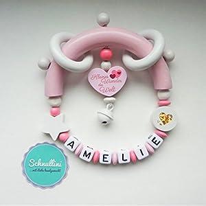 Beißring Greifling mit Namen Herz Kleines Wunder der Welt Gravur Geschenk Taufe Geburt individuell Stern | Mädchen rosa…