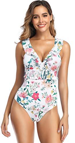 SHEKINI Damen Brazilian Einteiliger Bikini Rüsche Tief V-Ausschnitt Monokini Rückenfrei Blumenmuster Bikinis Gepolsterte Pads Volant Badeanzug (Medium, Weiß)