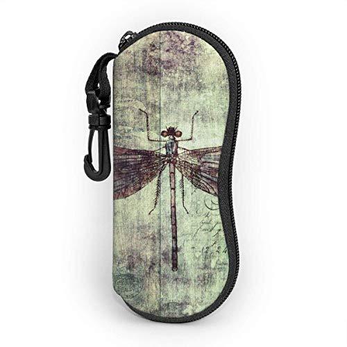 Brave Har Estuche blando para gafas de sol Estuche protector portátil ultraligero con clip para cinturón, Arte de libélula vintage