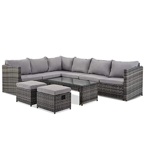 belupai Leisure Zone Garden Corner Sofa Set 8 Seater Rattan Sofa Outdoor Furniture with Coffee Table 2 stools (Grey)