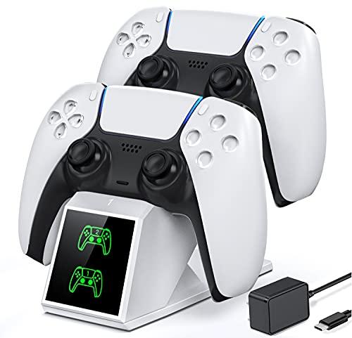 OIVO PS5 Controller Ladestation, PS5 Ladestation 2 Std Schnelllade mit Netzteil für Playstation 5 Ladestation, PS5 Ladestation Controller Ladegerät für Sony Playstation 5 Controller