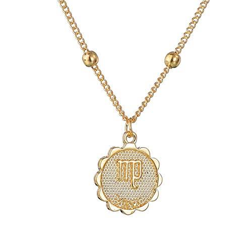 SKYROPNG Sternbild Halskette,Astrologie Sternzeichen Jungfrau Anhänger Halskette, Frauen Männer 12 Horoskop Charme Halsketten Individuell Handgefertigten Schmuck Party