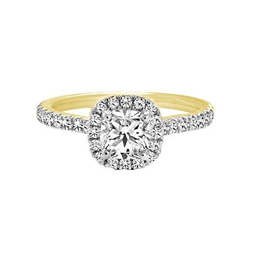 Triostar Women's 1.30 Ct Cushion & Round Diamond 14K Yellow Gold Plated Halo Engagement Ring