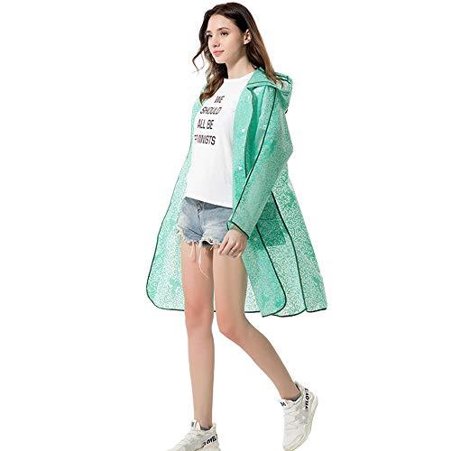 Verdikte regenjas draagbare volwassen doorschijnende poncho met capuchon en mouwen Houd water uit uw kleding voor kamperen PEVA 5 STUKS,Green