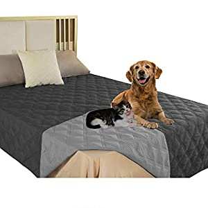 SUNNYTEX Waterproof & Reversible Dog Bed Cover Pet Blanket Sofa, Couch Cover Mattress Protector Furniture Protector for Dog, Pet, Cat(52″ 82″,Dark Grey/Grey