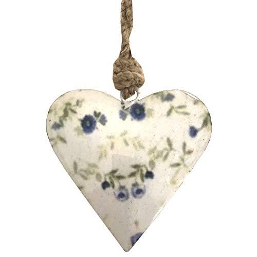 L'ORIGINALE DECO Cœur à Suspendre en Métal Fer Patiné Motifs Fleurs Blanc 8 cm x 8 cm