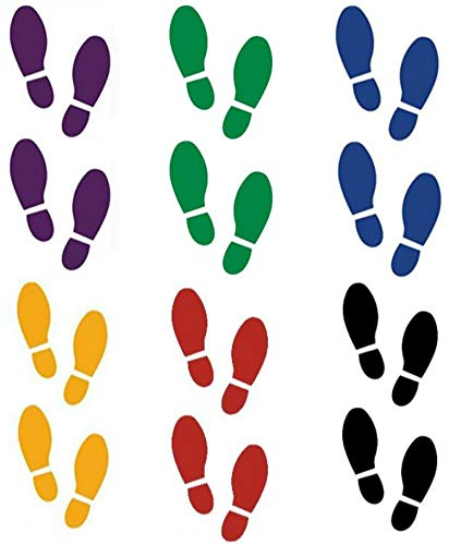 24 Shoe Footprint Vinyl Decal Stickers - Our Amazing'Super Tac Adhesive' Holds Strong But Allows for Easy Removability and are Easily Repositionable, 8' Tall x 3.25' Wide (Multi-Colored)