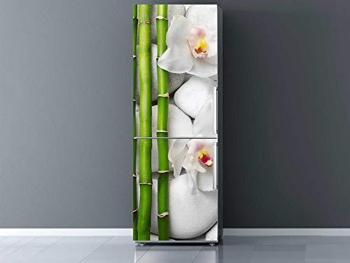 Oedim Vinilo para Frigorífico Bambú, Flores y Piedras Blancas 185x70cm   Adhesivo Resistente y Económico   Pegatina Adhesiva Decorativa de Diseño Elegante