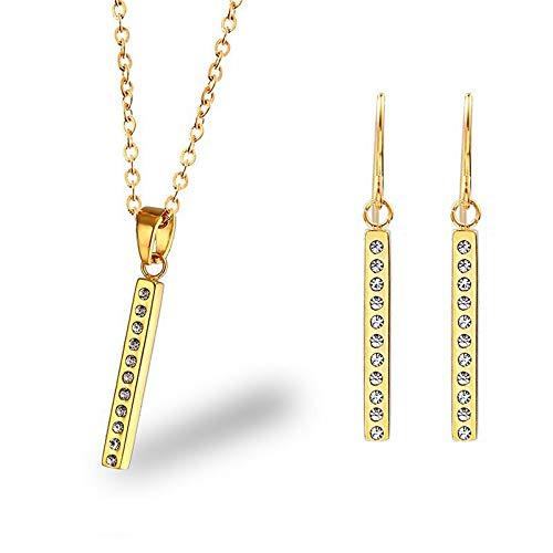 Burenqi gouden lange bar ketting met volledige kristallen stenen oorbellen sieraden accessoires zirkoon ontwerper unisex charm sieraden sets