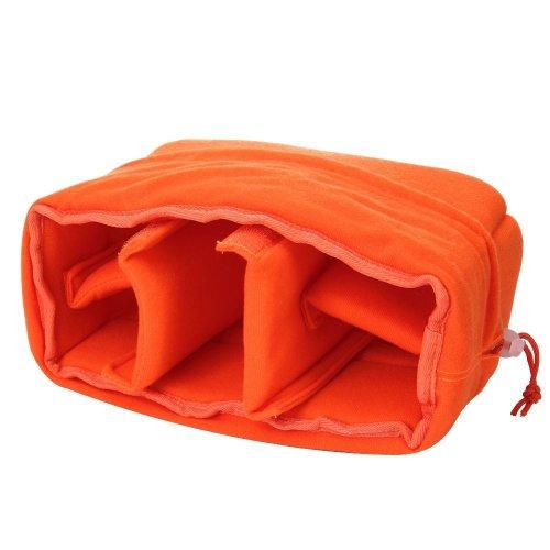 Yimidear stoßfest gepolsterte Faltbare Trennwand Kamera-Einsatzes Schutztasche für Sony Canon Nikon DSLR erschossen oder Flash Light (Orange)