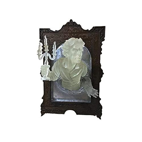 bottl Marco de fotos de espejo para Halloween, fantasma en el espejo, resina de Halloween, marco luminoso, adornos de fantasma en el espejo, placa de pared para decoración de pared