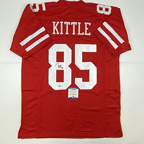 Autographed/Signed George Kittle San Francisco Red Football Jersey Beckett BAS COA