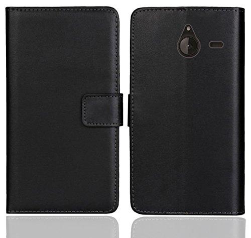 FoneExpert® Microsoft Lumia 640 XL Handy Tasche, Wallet Hülle Flip Cover Hüllen Etui Ledertasche Lederhülle Premium Schutzhülle für Microsoft Lumia 640 XL (Schwarz Farbe)
