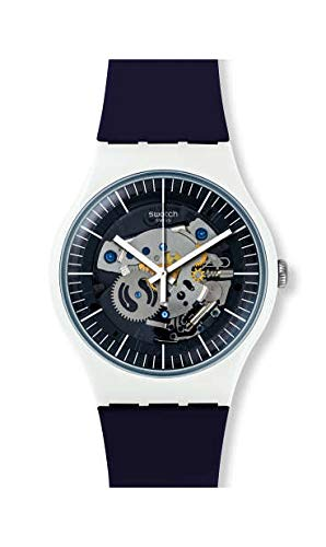 Swatch Unisex Erwachsene Analog Quarz Uhr mit Silikon Armband SUOW156