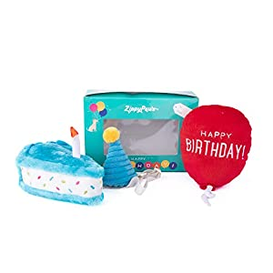 ZippyPaws – Birthday Box Gift for Dogs Squeaky Toy Set – 3 Toys