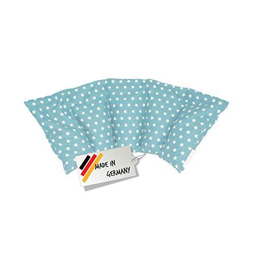 Großes Kirschkernkissen - Entspannungskissen - Heizkissen (Wärmekissen) // langes Relaxkissen - Kirschkern-Kissen mit Stern-Muster in 18 Farben! (babyblau)