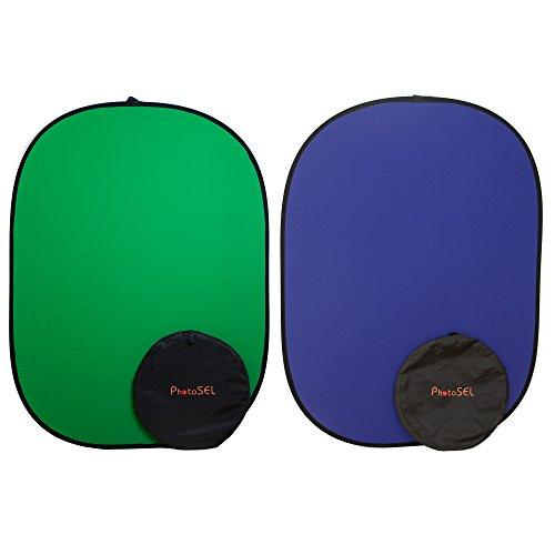 PhotoSEL BD113GU Fondo Plegable Reversible para Estudio Fotográfico y de Vídeo de Pantalla de 1,5 × 2m,Verde Azul