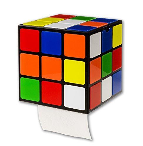getDigital Zauberwürfel WC Rollenhalter - Ausgefallener Halter im Stil des 80s Magic Cube mit Deckel und Ablage - Befestigung ohne Bohren 14 x 14 x 14cm