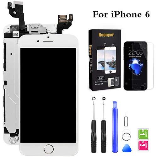 Hoonyer Für iPhone 6 Display ersatzbildschirm LCD Touchscreen Display vorinstallierte frontkamera näherungssensor Reparatur kit komplette ersatzbildschirm mit Werkzeug (Weiß)