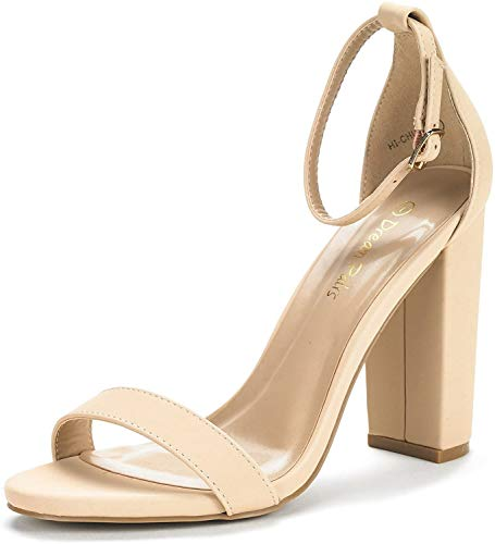 DREAM PAIRS Women's Hi-Chunk Nude Nubuck High Heel Pump Sandals - 9.5 M US