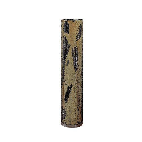 Lindby Pailletten Stehlampe schwarz gold   Stehleuchte 120cm, ø25   Lichtsäule rund mit Wendepailletten   Metall Textil   Standleuchte rund   Wohnzimmer