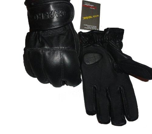 Tactical Handschuhe Schwarz Echtleder Blei & Kevlar - Schwarz, XL