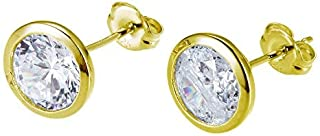 18K Gold Plated Sterling Silver Classic Cushion or Round Cubic Zirconia Stud Earrings