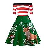 Celucke Vestido de Navidad Vintage para Mujer, Hombros Descubiertos, Estampado de Alces