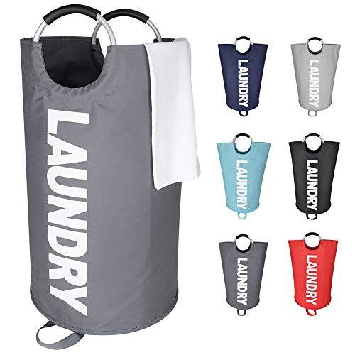 Eono Amazon Brand 82L Großen Faltbare Wäschekörbe mit münze Tasche, Zusammenklappbaren Wäschesäcke, Kleider Tasche (Dunkelgrau, L) EINWEG
